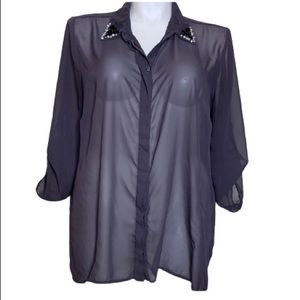 Maurice's Button Down Shirt with Jeweled Collar